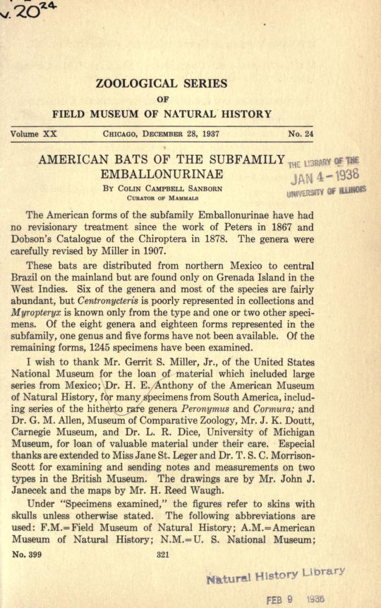 American bats of the subfamily Emballonurinae
