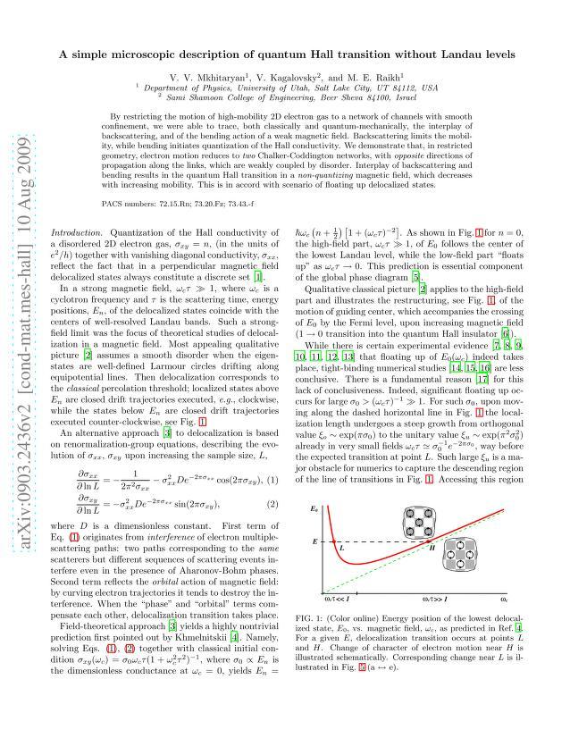 V. V. Mkhitaryan - A simple microscopic description of quantum Hall transition without Landau levels
