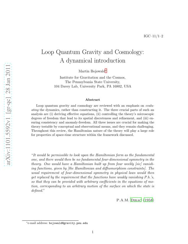 Martin Bojowald - Loop Quantum Gravity and Cosmology: A dynamical introduction