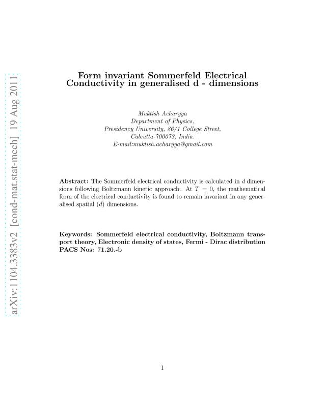 Muktish Acharyya - Form invariant Sommerfeld electrical conductivity in generalised d dimensions