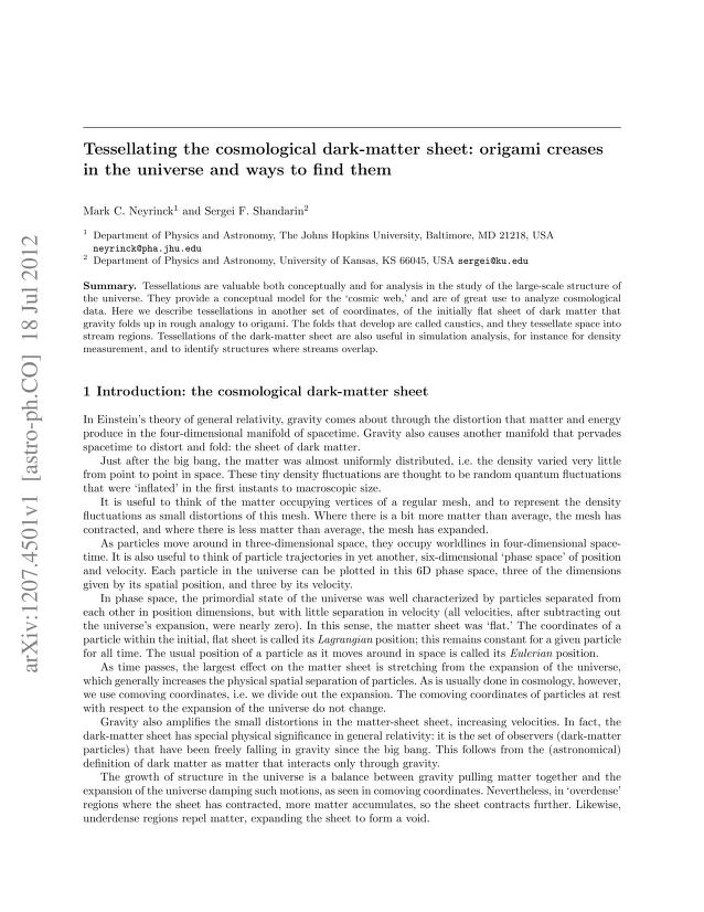 Mark C. Neyrinck - Tessellating the cosmological dark-matter sheet: origami creases in the universe and ways to find them