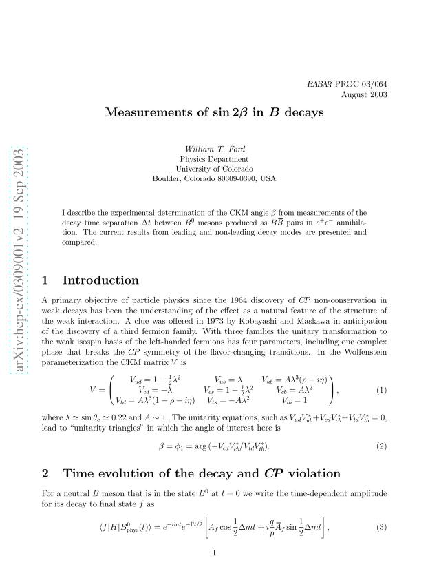 W. T. Ford - Measurements of sin(2 beta) in B decays