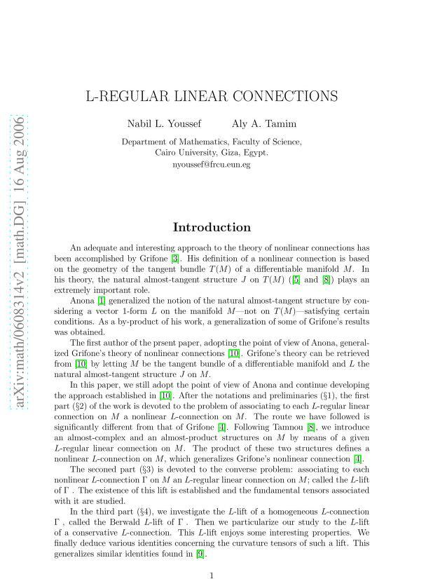 Nabil L. Youssef - L-regular linear connections