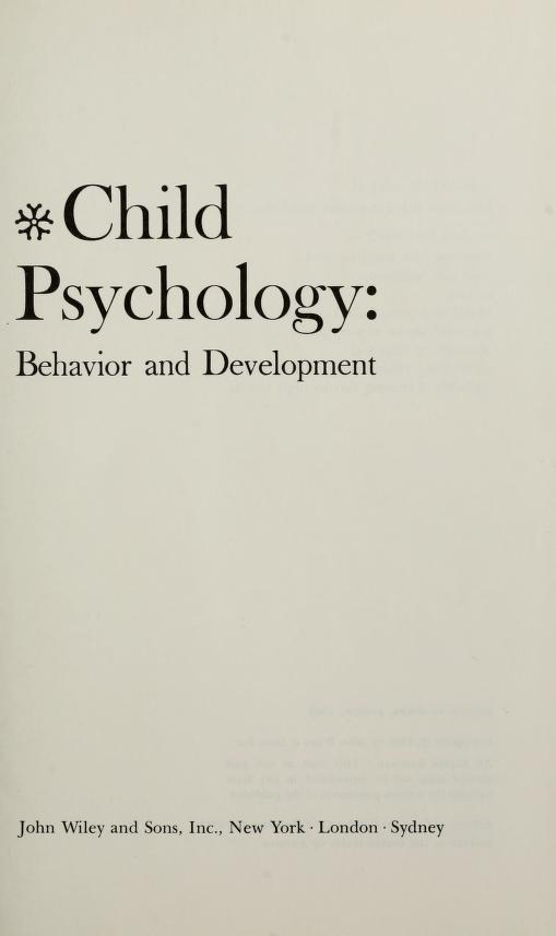 Child psychology: behavior and development by Ronald C. Johnson